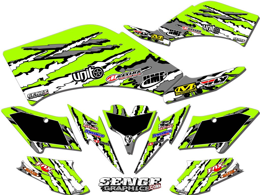Senge Graphics 2008-2016 Kawasaki KFX 450R, Shredder Green Graphics Kit