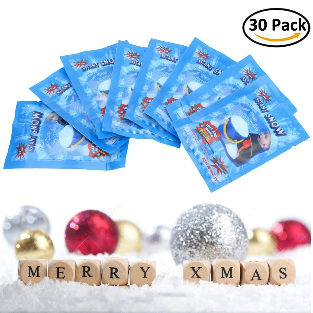 BraveWind 30 Packs Artificial Snow Powder Magic Instant Snow Simulation Snow Absorbent Polymer Fluffy Snow Christmas Wedding Decor Prop