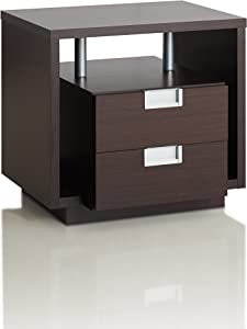 Furniture of America Belling Modern 2-Drawer Block Shaped End Table with Cut-out Side Storage Panels and Recessed Metal Handles, Espresso