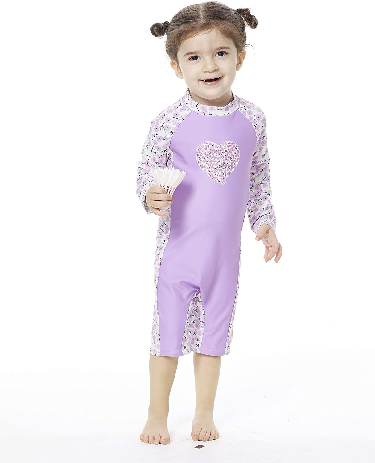 UV Protection One Pieces Sunsuit with Sun Cap Bonverano Baby Girls Swimsuit UPF 50 Purple, 24-36Months