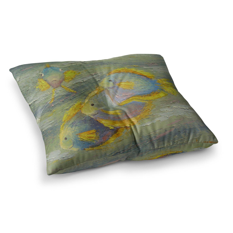 Kess InHouse Carol Schiff Something Fishy Green Orange Painting, 26' x 26' Square Floor Pillow