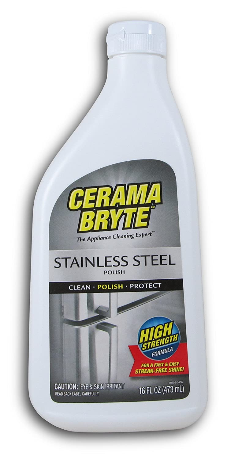 Cerama Bryte Protective Stainless Steel Cleaning Polish with Mineral Oil, 16 Ounce