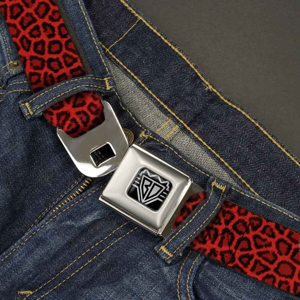 1.0 Wide 20-36 Inches in Length Leopard Red Buckle-Down Seatbelt Belt
