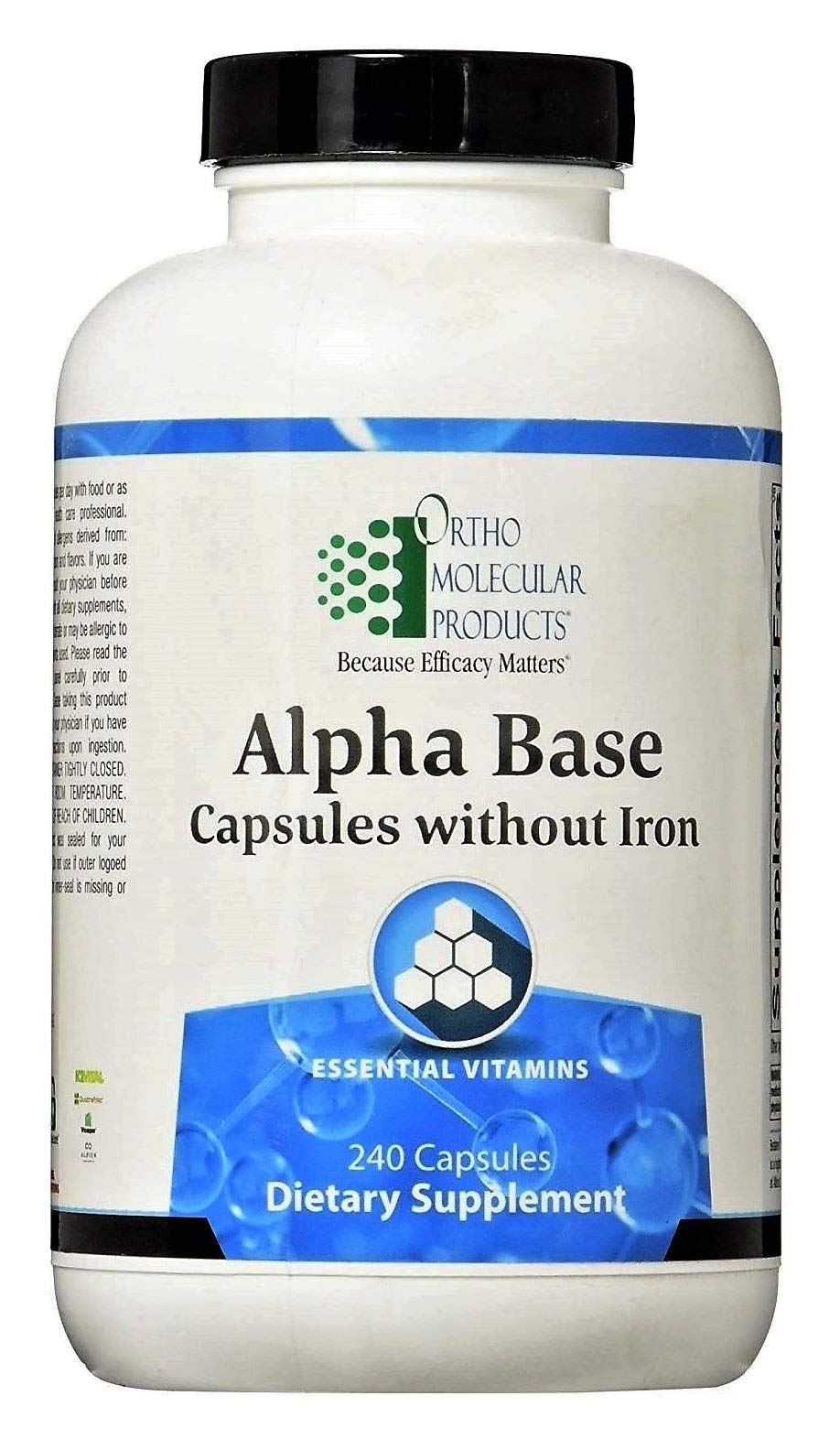 Ortho Molecular Products Alpha Base Caps Without Iron Capsules, 240 Count