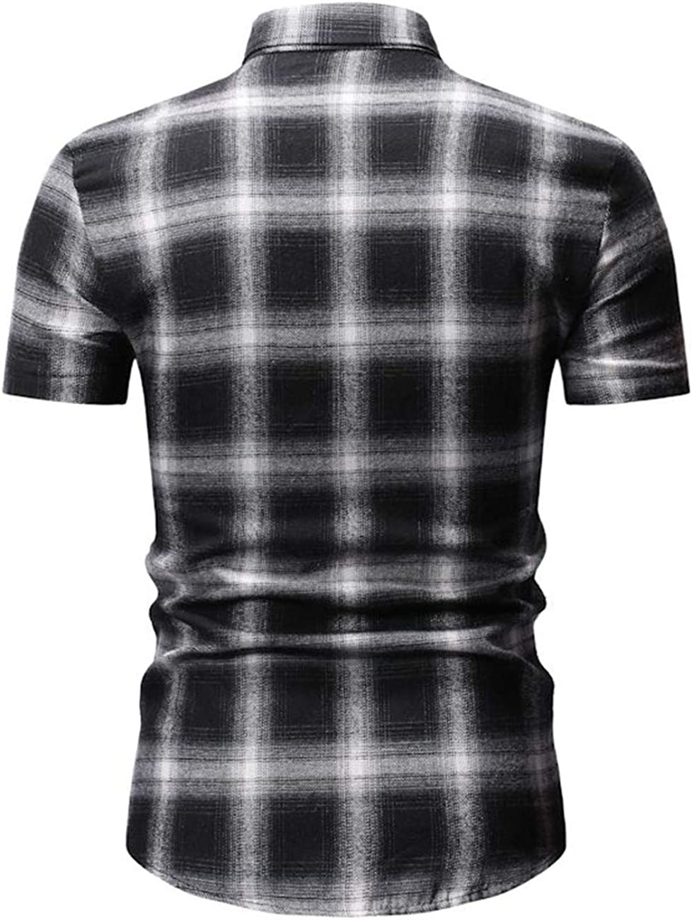 Mens Short-Sleeved Leisure and Fashion3 Color Button Down Checked Shirt