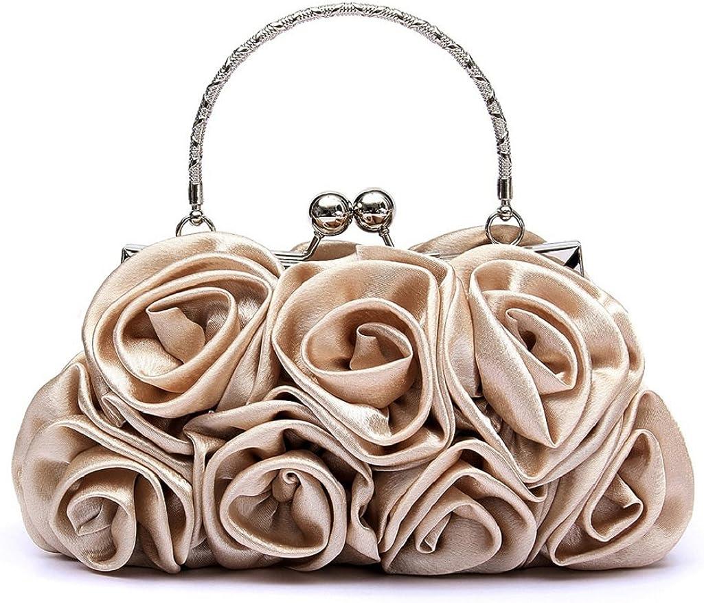 Gilroy Women Rose Flower Clutch Bag Evening Party Bridal Handbag