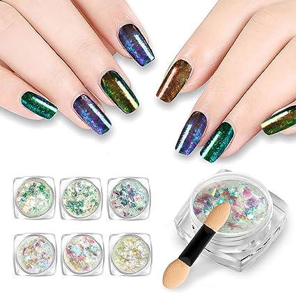 Espejo de uñas brillante con purpurina y purpurina, 6 colores, para decoración de uñas. Pasa ...