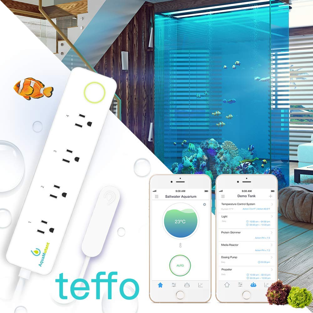 teffo; Aquarium Temperature Controller w/Magnetic Sensor;WiFi Thermometer;2-Stage Thermostat;4 Relays;1100W Power Strip;Fish Tank, Digital Timer, One-Clink AUTO, Cloud Management by Aquamutant