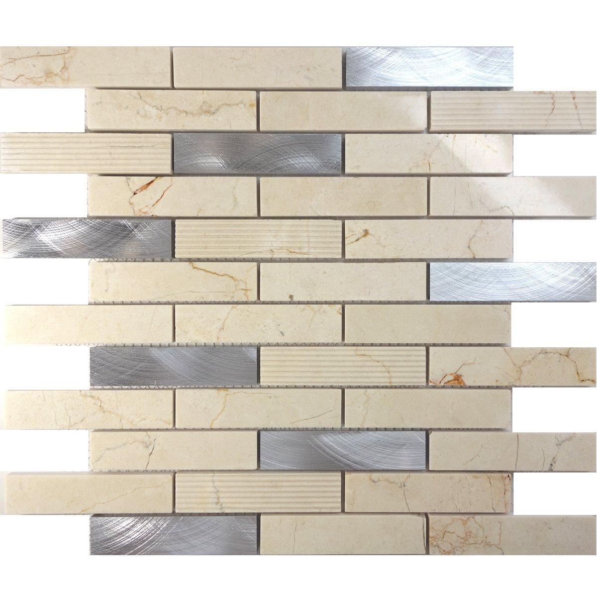 Modket TDH206MO Cream Beige Crema Marfil Marble Stone Metallic Aluminum Brick Joint Pattern Mosaic Tile Backsplash
