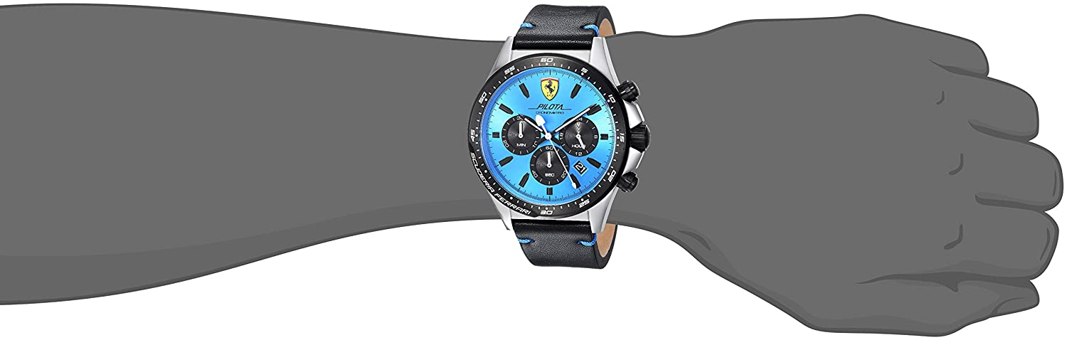 Ferrari Men s Pilota Stainless Steel Quartz Watch with Leather Calfskin Strap, Black, 22 Model 0830388