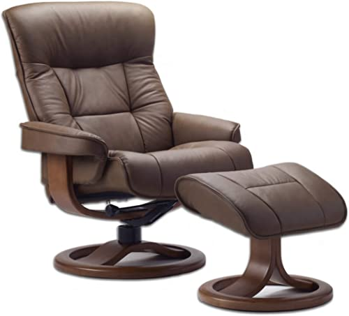 Fjords 775 Bergen Large Recliner and Ottoman Norwegian Ergonomic Scandinavian Lounge Reclining Chair Furniture Nordic Line Genuine Havana Dark Brown Leather Teak Wood