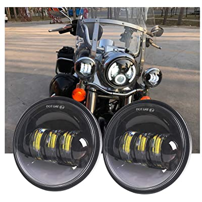 Athiry 1 Pair Motorcycle Black Fog Lights 4-1/2 4.5 Inch Led Spotlights Auxiliary Driving Passing Lamp For Road Glide Softail Deluxe Night Train: Automotive [5Bkhe0412861]