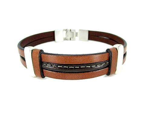 Pulsera cuero marrón, pulseras hombre, brazaletes de cuero, regalos cumpleaños, accesorios hombre, accesorios de cuero, pulsera de moda, accesorios de cuero: Amazon.es: Handmade