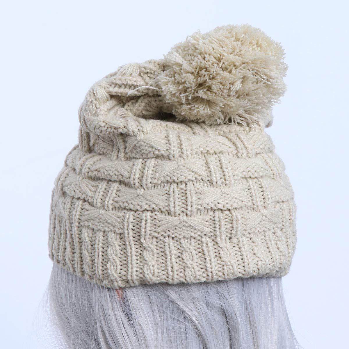 07a7a1a21be9 Winomo Bonnet d hiver et écharpe en tricot pour femme Noir beige beige   Amazon.fr  High-tech