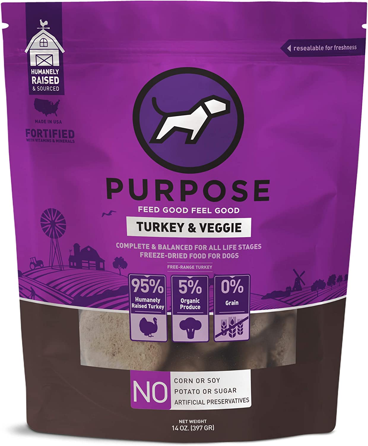 PURPOSE Freeze Dried All-Natural Raw Dog Food with Organic Veggies Humanely Raised 14 Ounce | Made in The USA