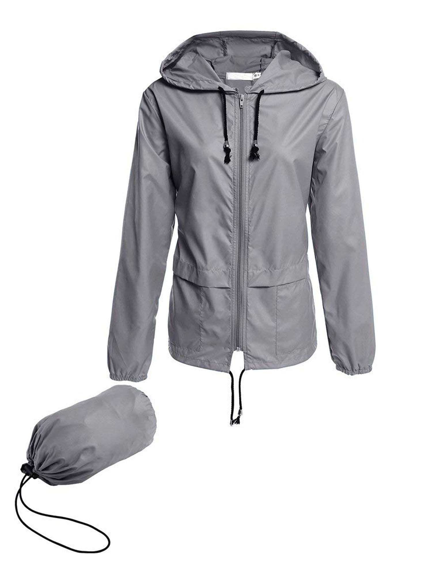 Avoogue Raincoat Women Lightweight Waterproof Rain Jackets Packable Outdoor Hooded Windbreaker Running Coat (Grey XXL) by Avoogue
