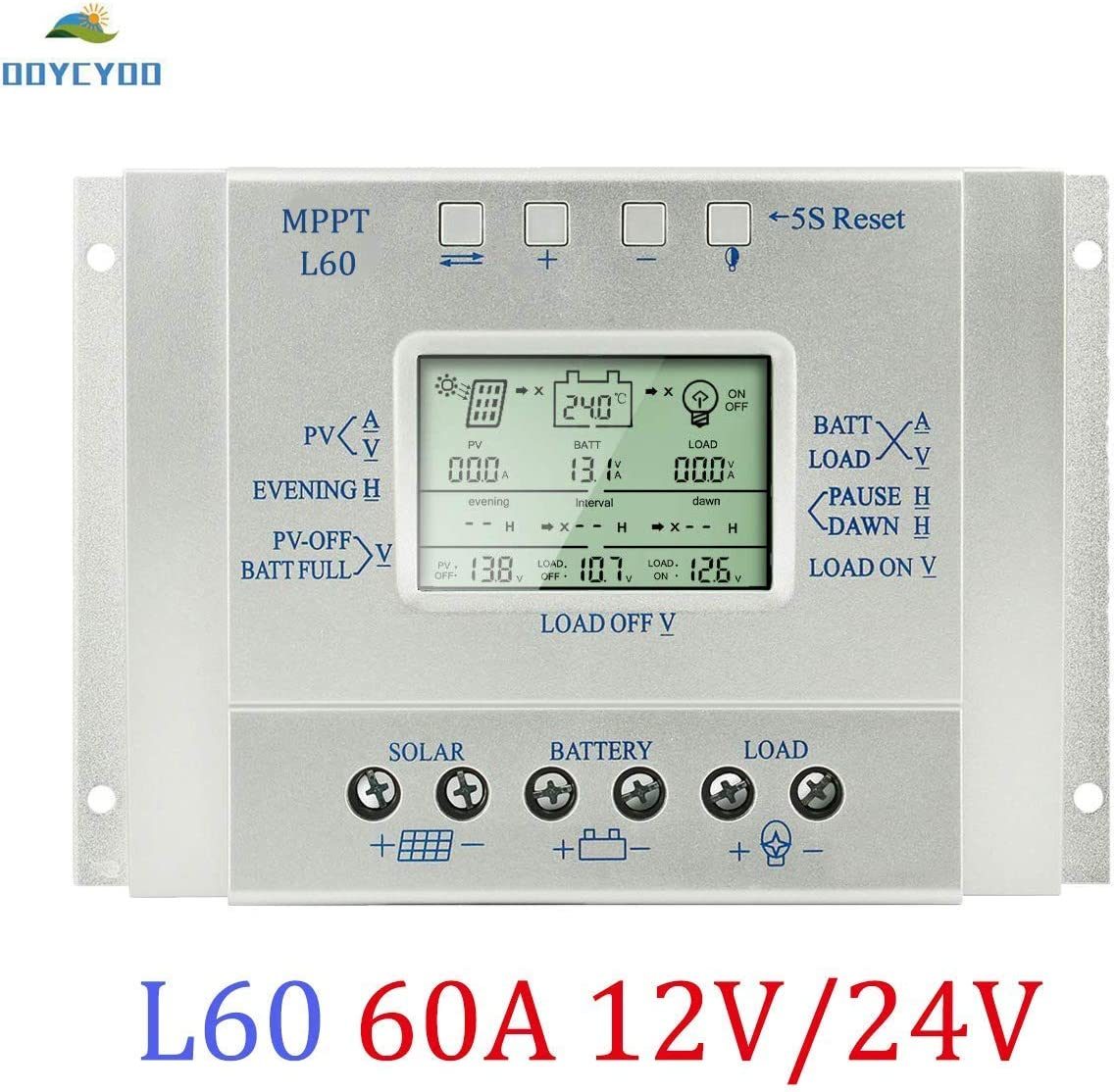 OOYCYOO 60A Solar Charge Controller 60 amp Solar Panel Battery Regulator 12V 24V with LCD Display,USB 5V 1500mA Output L60A