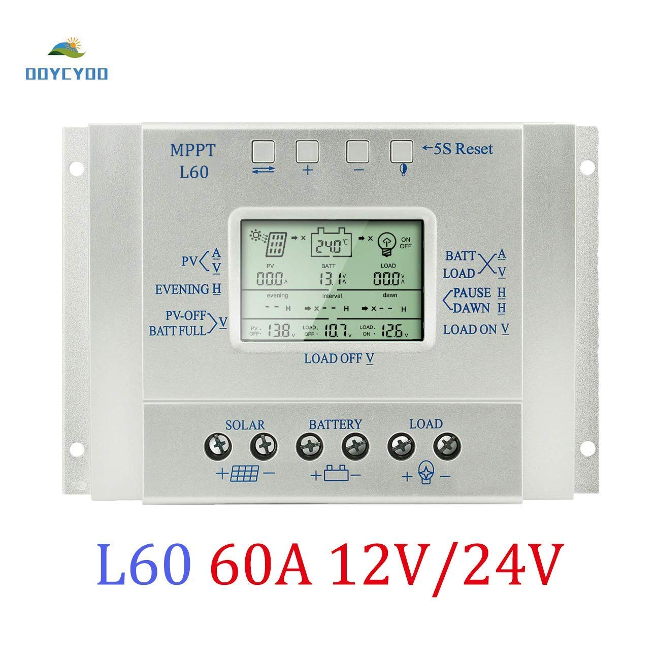 OOYCYOO 60A Solar Charge Controller 60 amp Solar Panel Battery Regulator 12V 24V with LCD Display,USB 5V 1500mA Output (L60A)