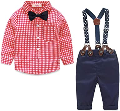 2pcs Toddler Baby Infant Boys Outfits Bow Tie T-shirt Pants Kids Clothes Set