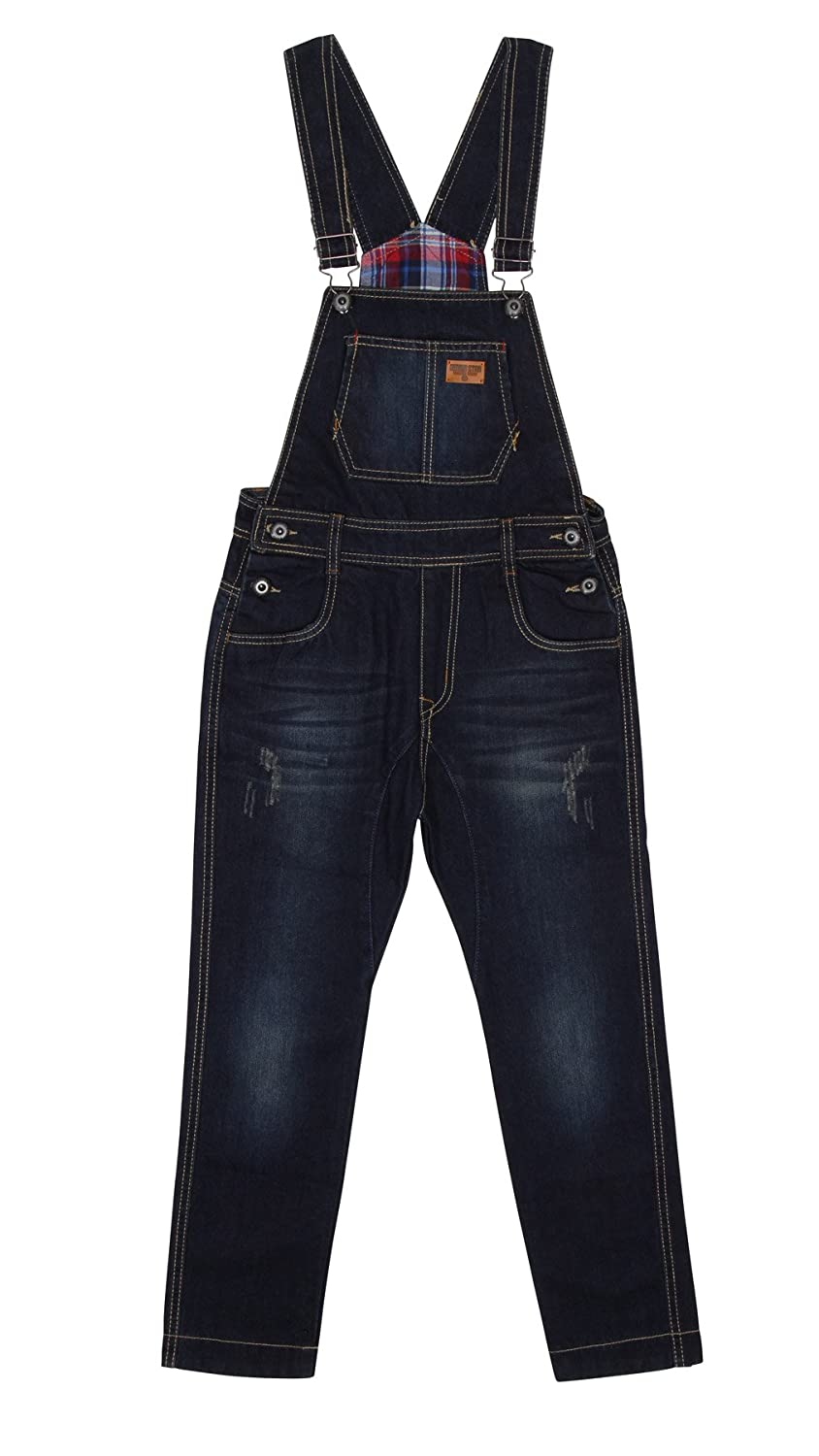 Children's Darkwash Denim Dungarees Blue Slim leg dungarees for Boys and Girls a KID047 Genius Star