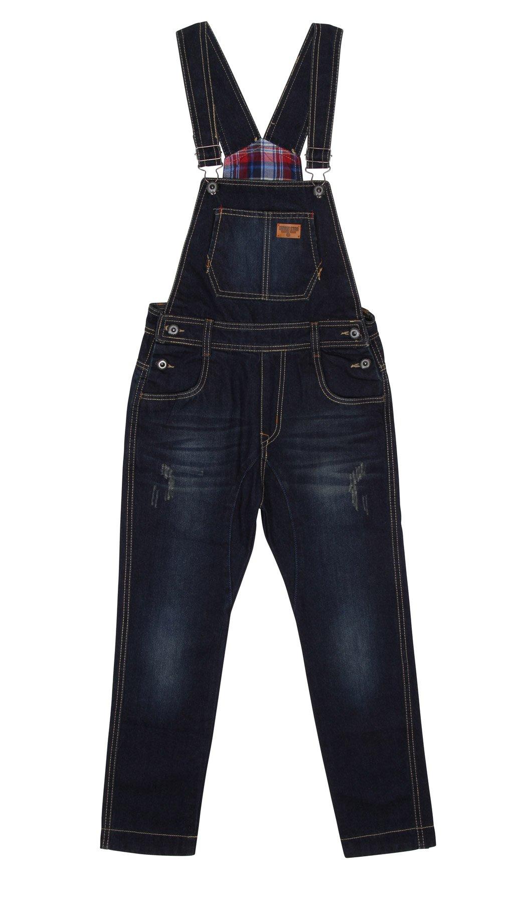 Big Boys' Darkwash Denim Bib Overalls Boys Blue Slim leg pants , 10 Years , Blue