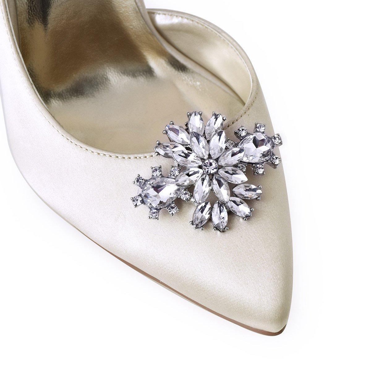 ElegantPark AK Wedding Dress Clutch Double Rhinestones Flowers Silver Shoe Clips 2 Pcs by ElegantPark (Image #2)