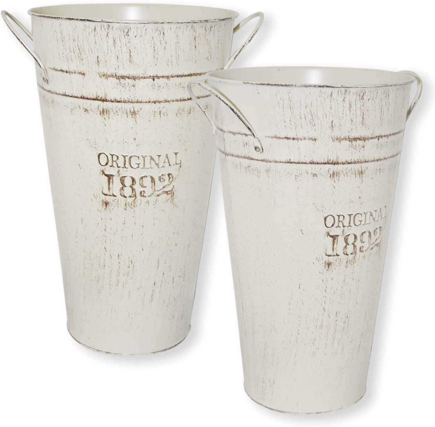 Lesen 12 Inch Vintage White Metal Flower Vase - Set of 2 - Farmhouse Galvanized French Bucket - Table Centerpiece Rustic Home Decor for Fresh and Dried Floral Arrangements for Home and Weddings
