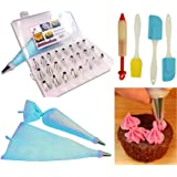 Cake Piping Decorating Kit 48 Pieces inc, 1 Decorating Pen, 2 Piping Bags, 2 Spatulas, 16 Stencils and 1 Bakers brush, for cake piping, cookies and coffee decoration.