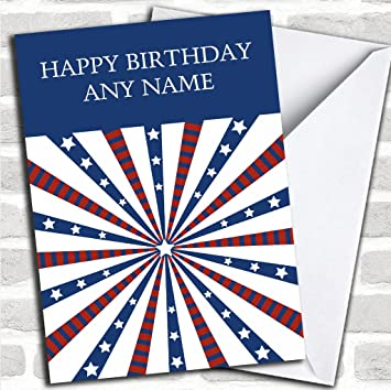 White Stars Stripes Customised Birthday Greetings Card Cards Countries Places Amazoncouk Office Products