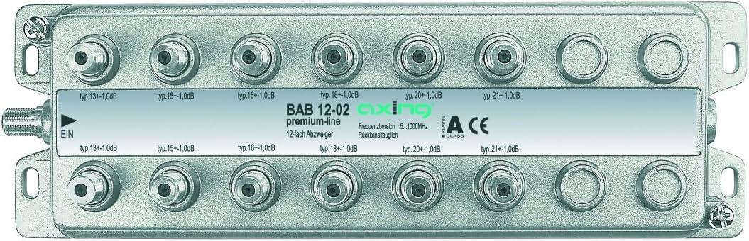 Axing BAB 12-02 - Derivador Acoplador direccional de señal TV con conector de F para TDT radio CATV televisión por cable, 12 salidas (5-1006 MHz)