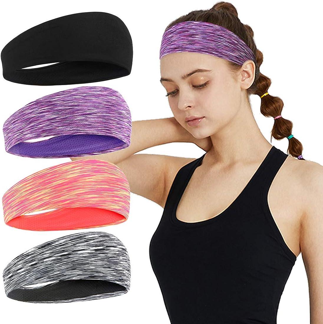 YONUF Workout Headbands for Women Non Slip Yoga Sports Stretchy Absorb Sweat Hairband Elastic Running Sweatband