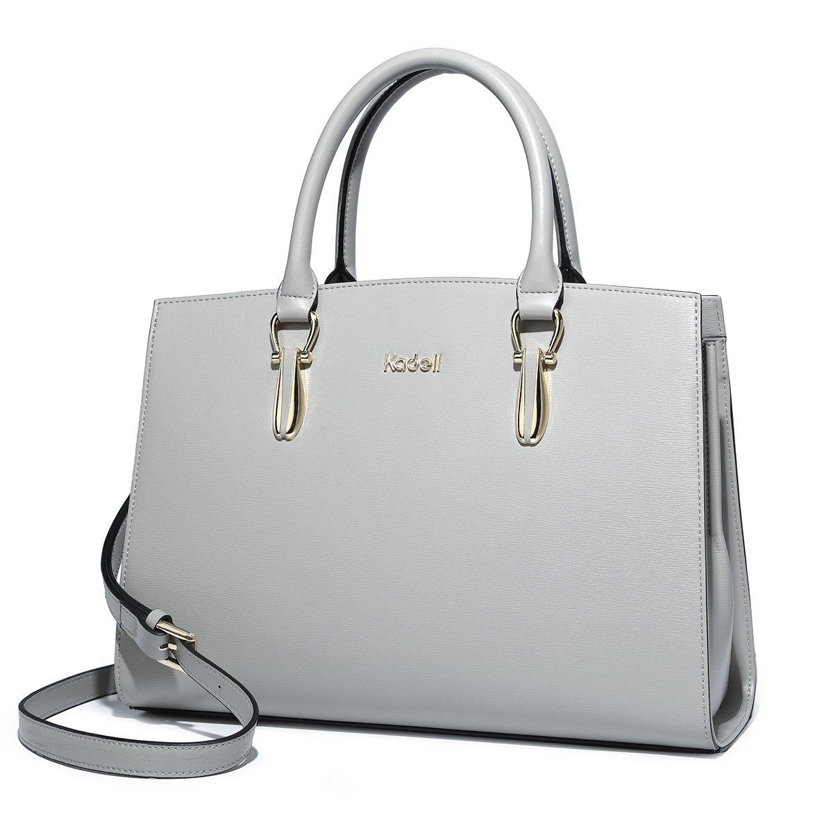 Kadell Elegant Women Handbags Leather Vintage Tote Satchel Shoulder Crossbody Bags Top Handle Purse Grey