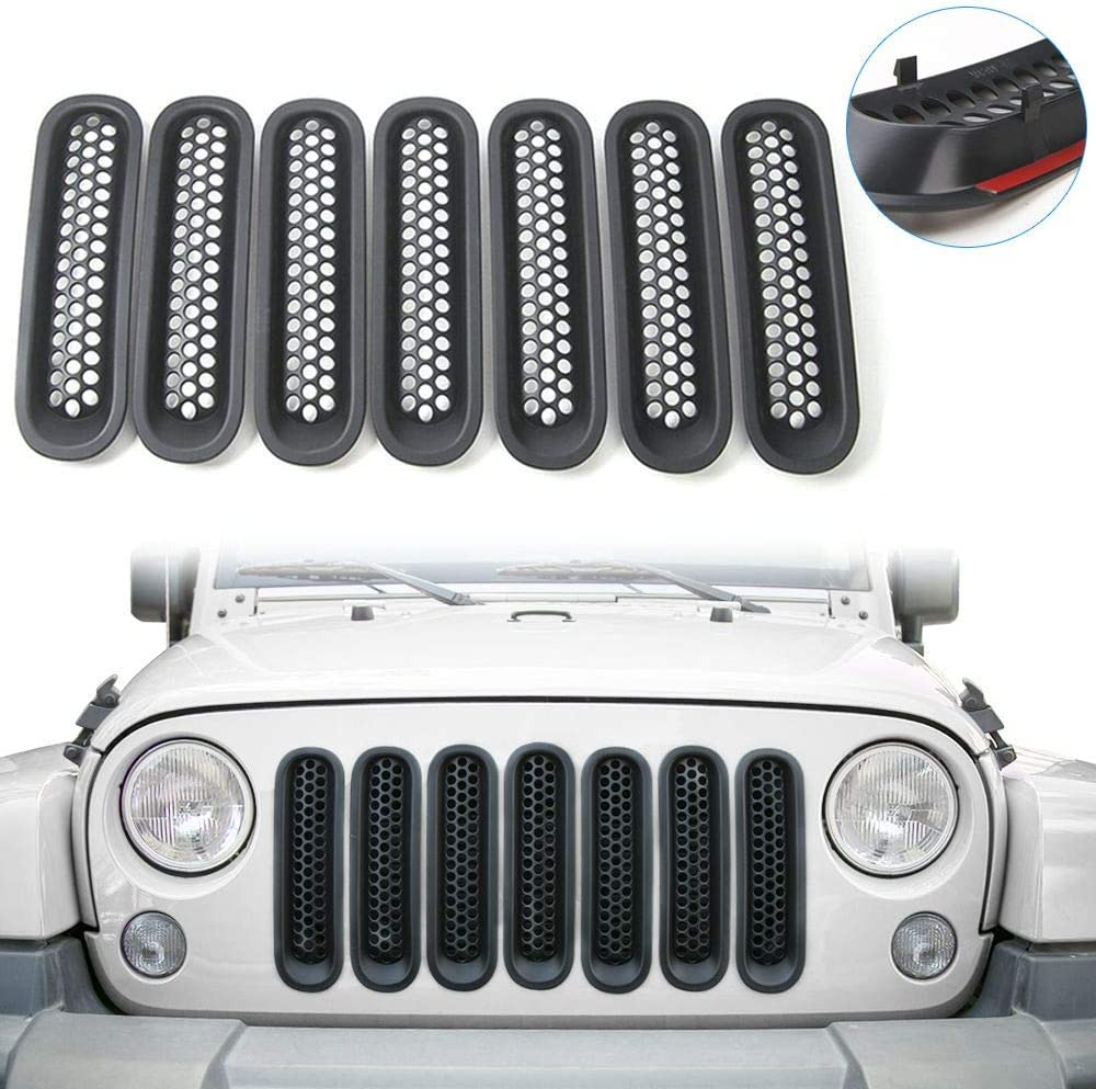 Amazon Com Rt Tcz Upgrade Version Clip On Grille Front Mesh Grille Inserts For Jeep Wrangler 2007 2015 Matte Black Automotive