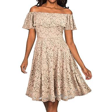 Rosennie Damen Vintage Schulterfrei Spitze Kleid Formal Hochzeit Festlich  Party Abendmode Kleid Brautjungfernkleider Lange Ärmel A fa7896427b