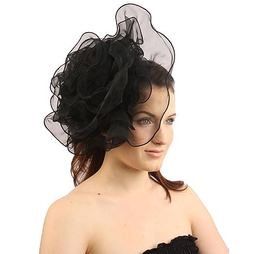 SK Hat shop Elegant Derby Ruffle Floral Headband Fascinator millinery  Cocktail Hat Black 886c0b07d96