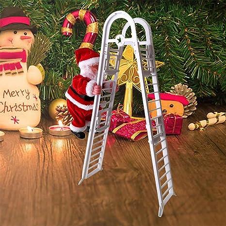 SH Escalera eléctrica de escalada de Papá Noel, diseño creativo de Papá Noel, con música, muñeca de felpa eléctrica, decoración para Navidad, fiesta, ...