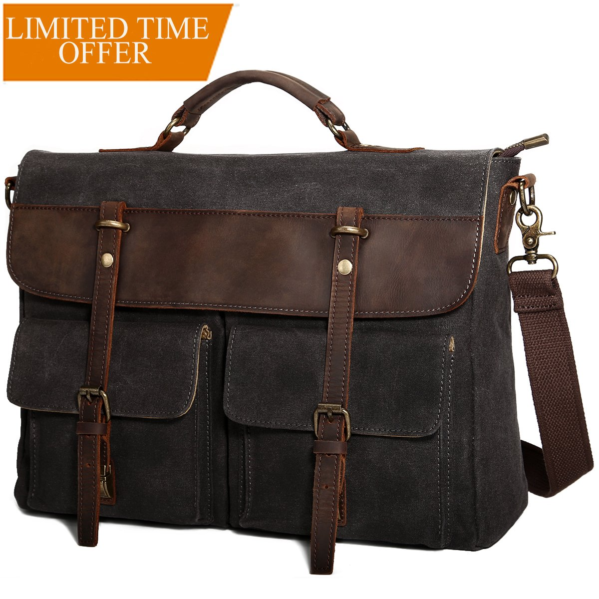 Large Messenger Bag for Men Tocode, Vintage Waxed Canvas Satchel Leather Briefcases Crossbody Shoulder Bags, 15.6 inch Computer Laptop Bags Water Resistant Travel Work Bag (Coffee) Tocode-1038-Coffee
