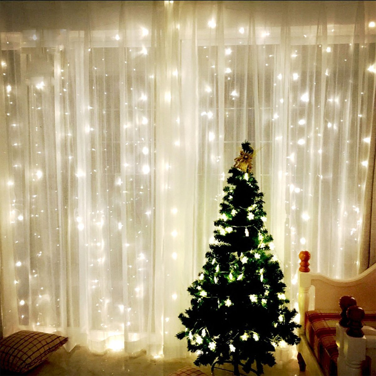 Window Curtain Icicle waterfall Lights 304 LEDS FairyTwinkle Stars ...