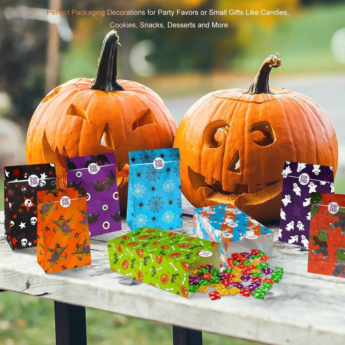 Halloween Treat Bags Candy Gift Bags,Paper Bags with Trick or Treat Stickers Gift Bags, 8 Assorted Designs 72 Pack