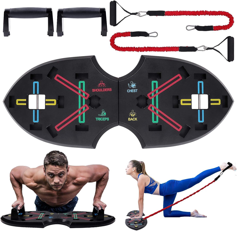 Push Up Rack Board, 12 en 1 equipo multifuncional plegable para ejercicios en el hogar, marco de entrenamiento portátil push-up, utilizado para ...
