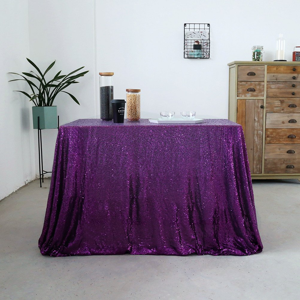 GFCC 50x50 Sparkly Purple Sparkly Sequin Glamorous Tablecloth/Backdrop Wedding Party Decorations by GFCC