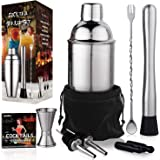 24 oz Cocktail Shaker Bartender Set by Aozita, Stainless Steel Martini Shaker, Mixing Spoon, Muddler, Measuring Jigger…