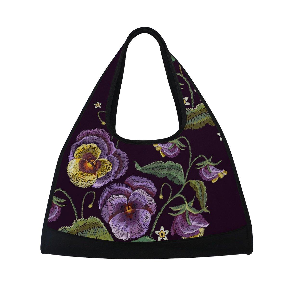 AHOMY Sports Gym Bag Flower Leaf Embroidery Duffel Bag Travel Shoulder Bag