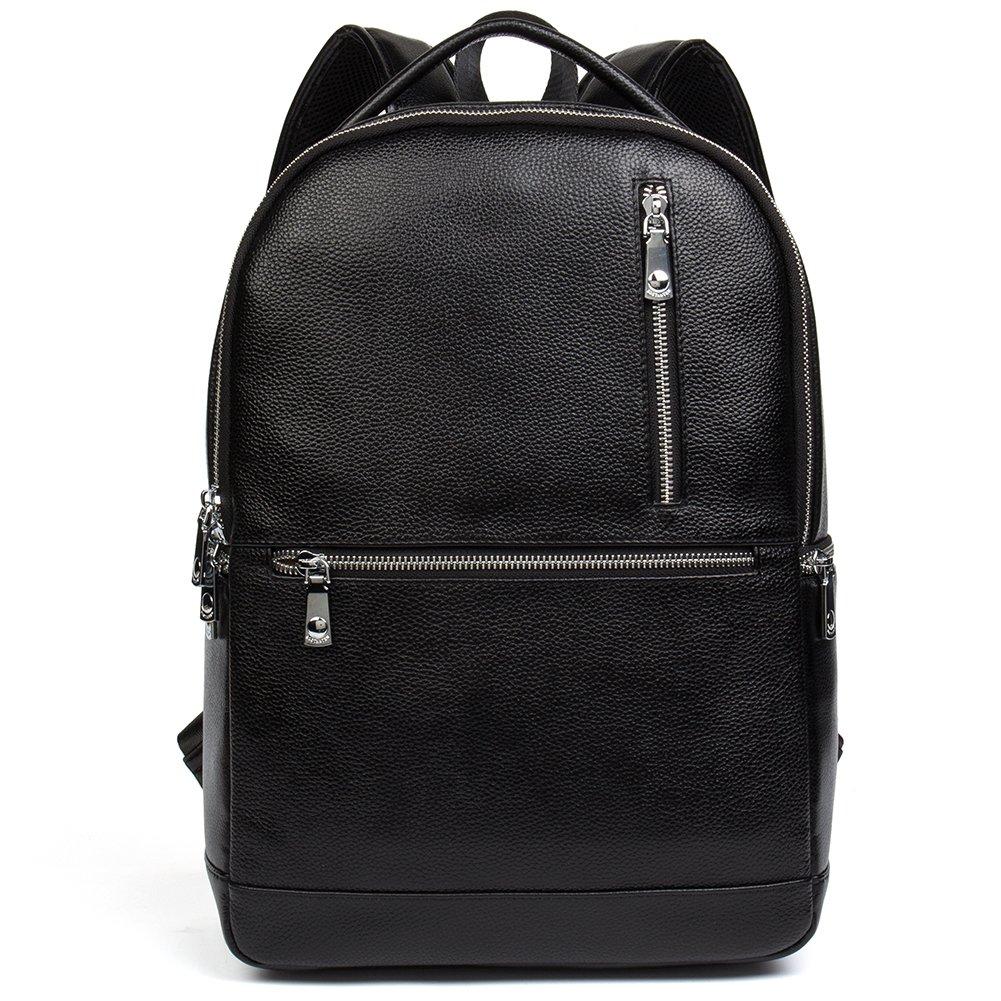 BOSTANTEN Leather Backpack Shoulder Bag for Men Travel Hiking School Outdoor Rucksack Small Black