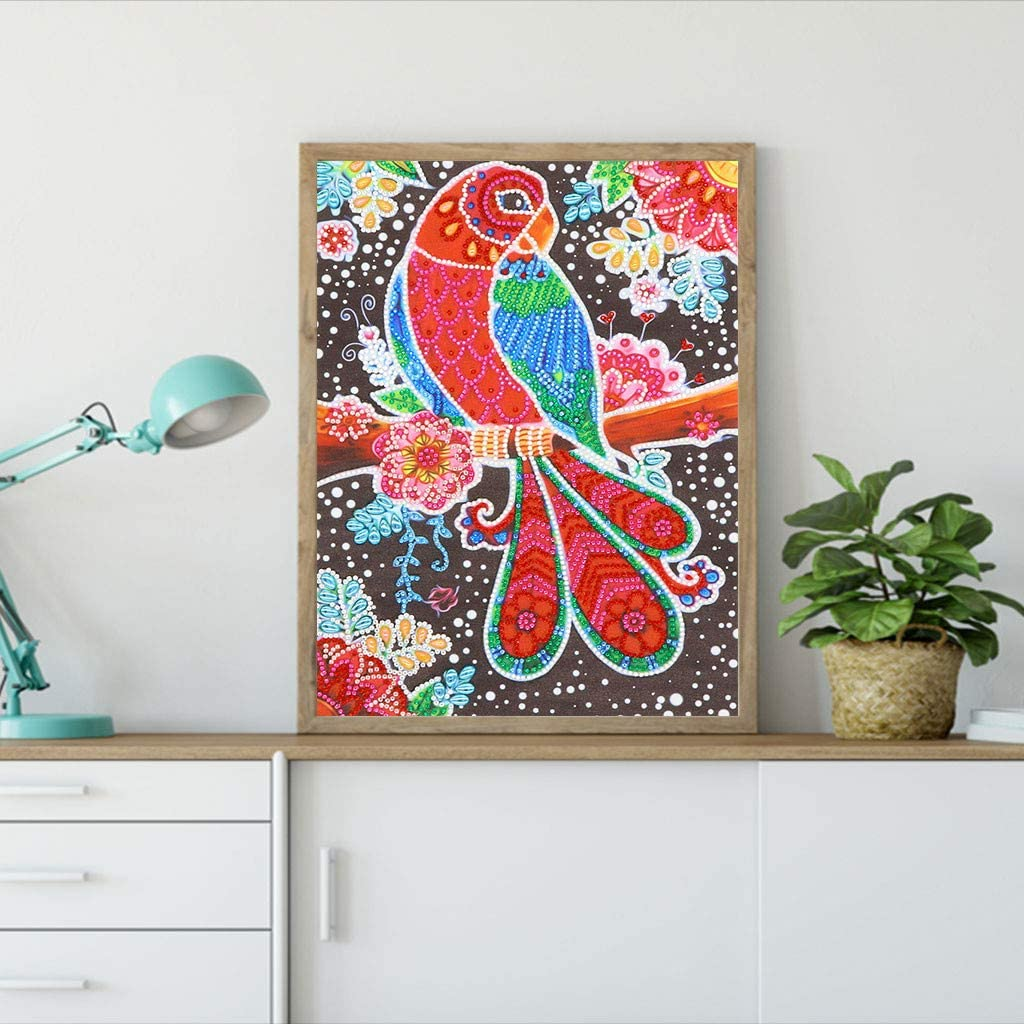 DIY 5D Special Shaped Diamond Painting Kits for Adults Kids 12x16inch Animal Embroidery Paintings Rhinestone Beads Dots Set Painting Cross Stitch Arts Crafts for Home Bedroom Wall Decor