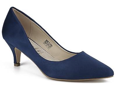 98db279f254e79 Greatonu Women Office Party Shoes Faux Suede Kitten Heels Pointed Closed Toe  Slip On Dress Pumps