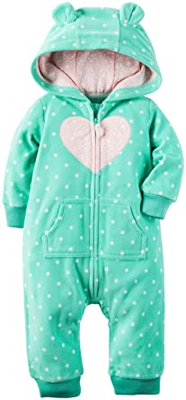 Carter's Baby Girls Hooded Fleece Jumpsuit, Mint, 6 Months