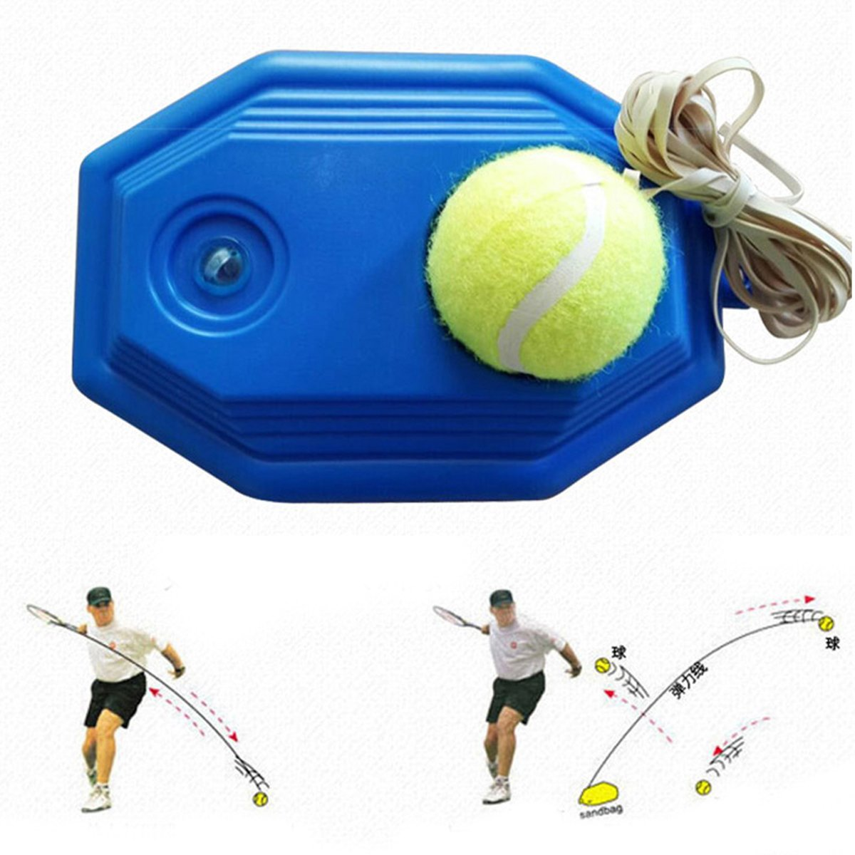 HemeraPhit Tennis Ball Machine Rebound Tennis Trainer Set for Beginner