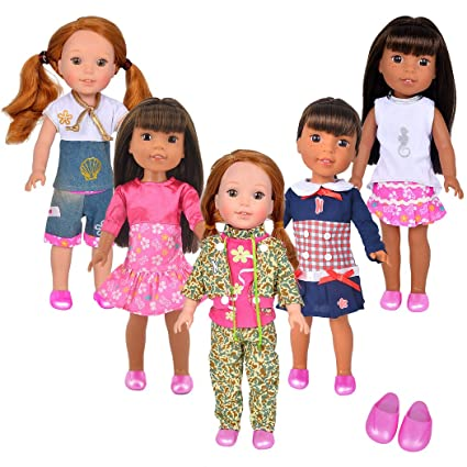 Ibayda 5pcs Doll Clothes Set 1pcs Shoes For American Girl Doll 14 5 Inch Wellie Wishers Willa Dolls