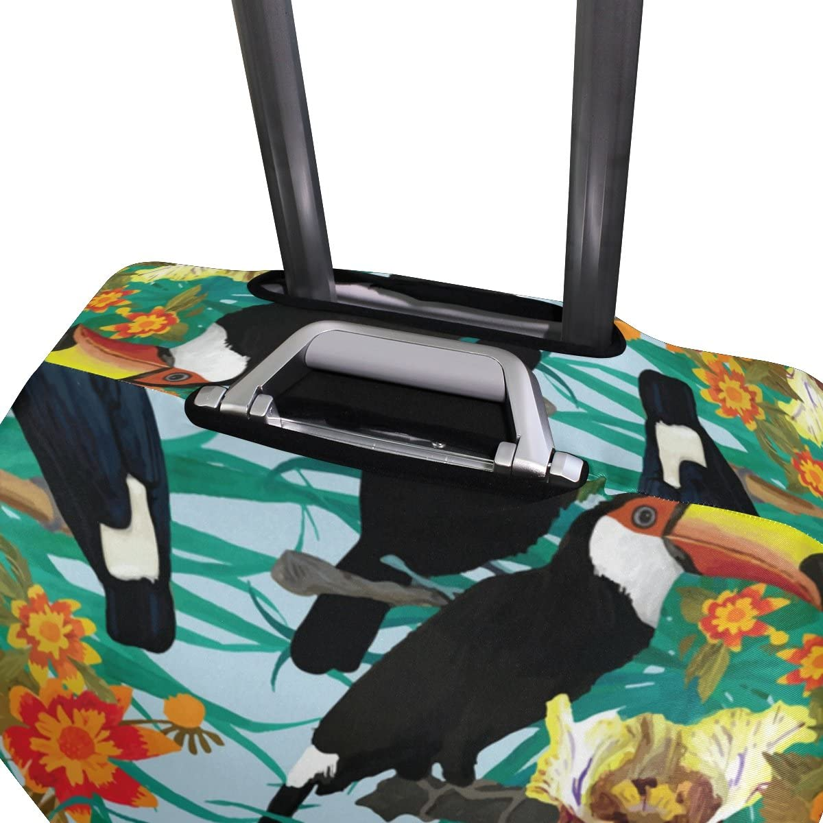 OREZI Luggage Protector Bird Toucans And Flowers Travel Luggage Elastic Cover Suitcase Washable and Durable Anti-Scratch Stretchy Case Cover Fits 18-32 Inches